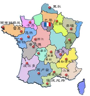 法国主要城市地图