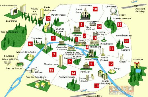 巴黎旅游景点及主要区域划分图